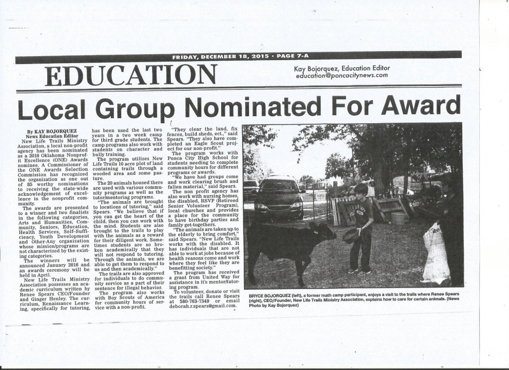 "Ponca City News, Publication of New Life Trails Nomination for ""ONE"" Non-Profit Excellence Award"